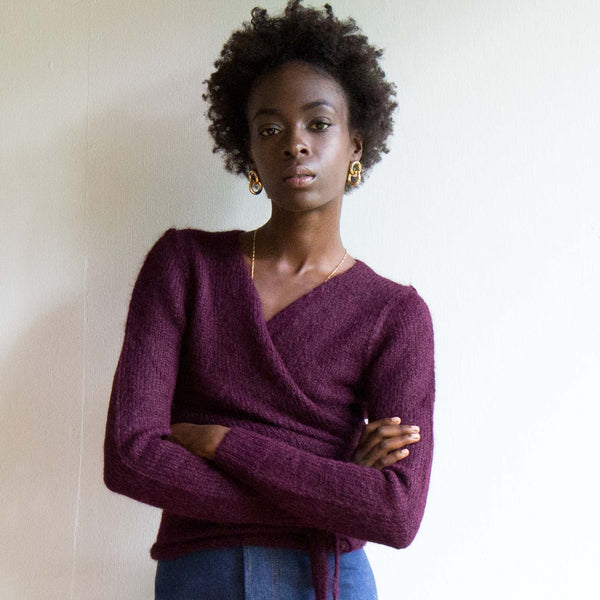 A Détacher Bordeaux Tiara Wrap Sweater