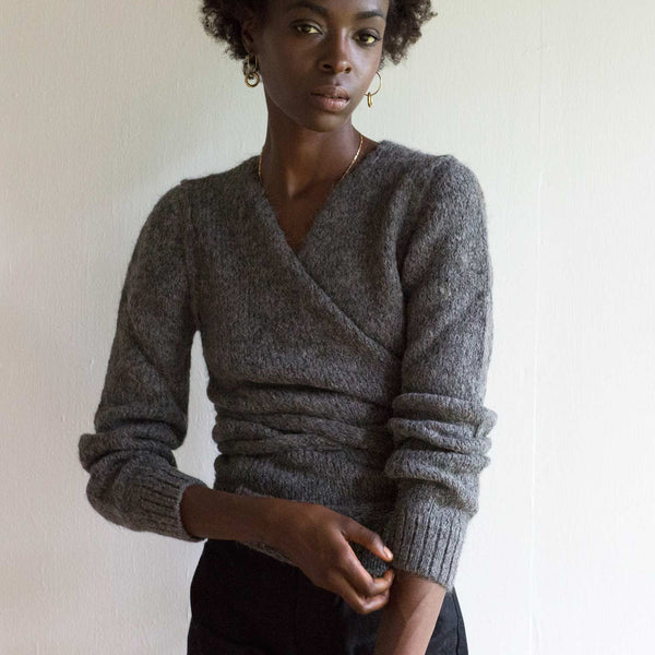 A Détacher Charcoal Tiara Wrap Sweater