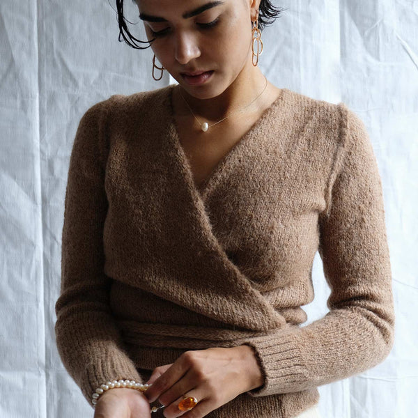 A Detacher Honey Alpaca Tiara Wrap Sweater