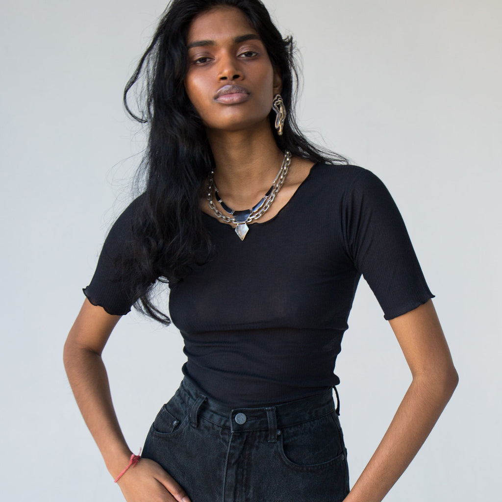 Baserange Black Pama Ribbed Top