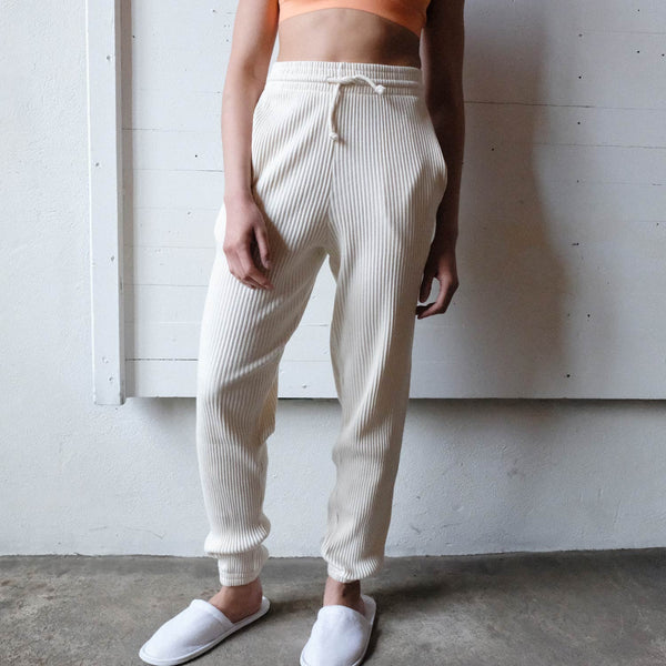 Baserange Off White Basic Ribbed Sweat Pants