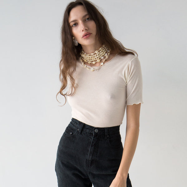 Baserange Off-White Pama Ribbed Top