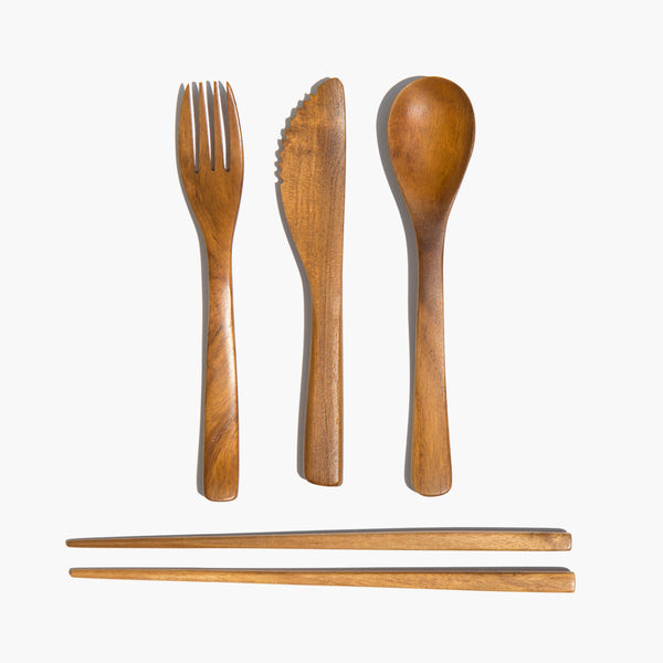 Reusable Teak Cutlery Set