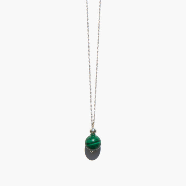 Sterling and Malachite Sphere Necklace