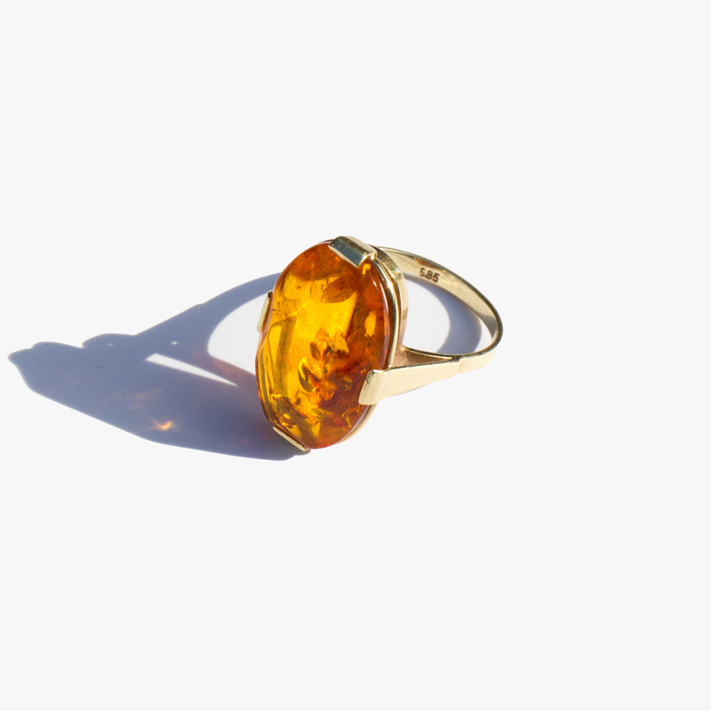Amber and 14K Gold Cocktail Ring