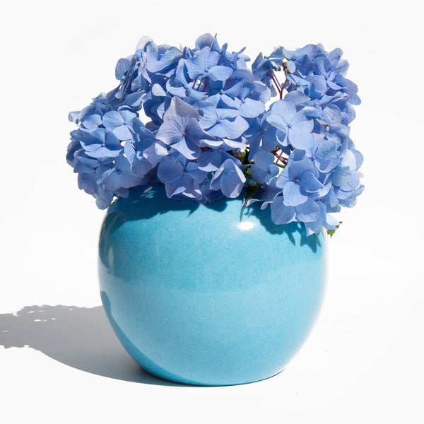 Hand Decorated Cornflower Blue Vase