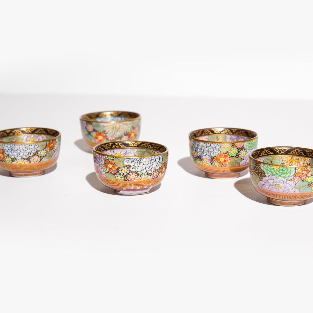 Hand Painted Japanese Floral Sake Cups