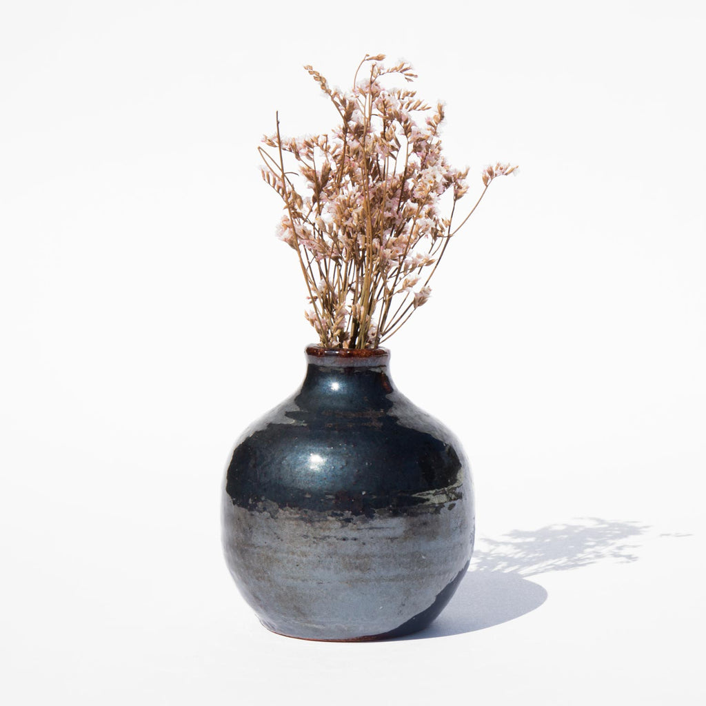 Luminous Black Bud Vase