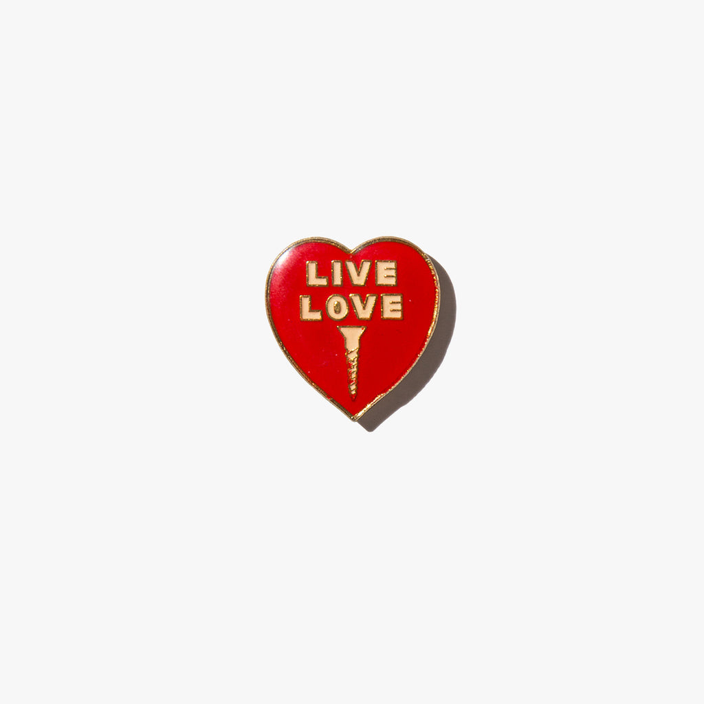Live Love Screw Vintage Pin