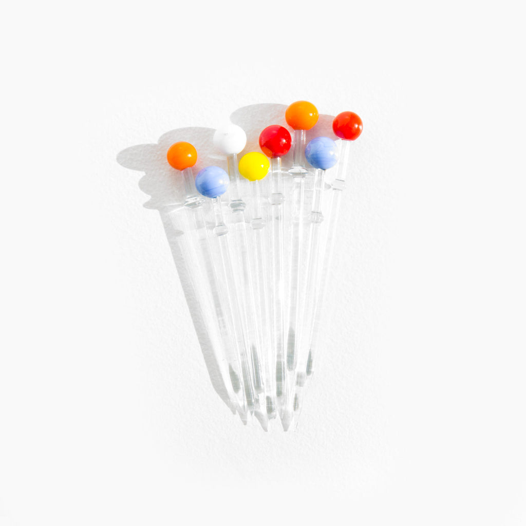Multi Colored Glass Cocktail Picks