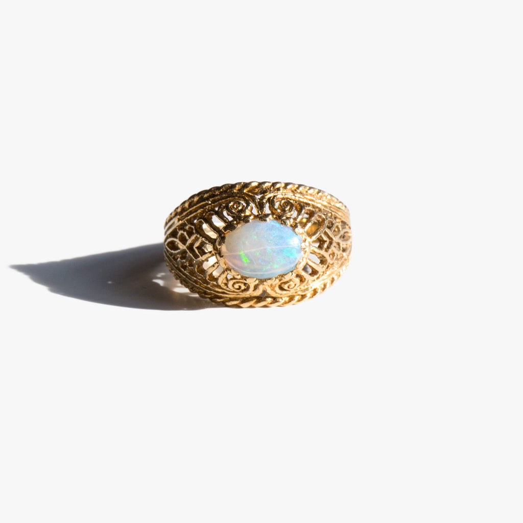 Opal Lattice Ring