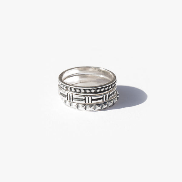 Sterling Silver Patterned Stacking Rings