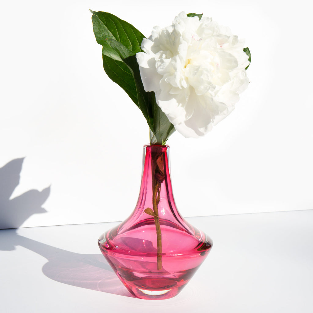 Mid Century Cranberry Glass Vase