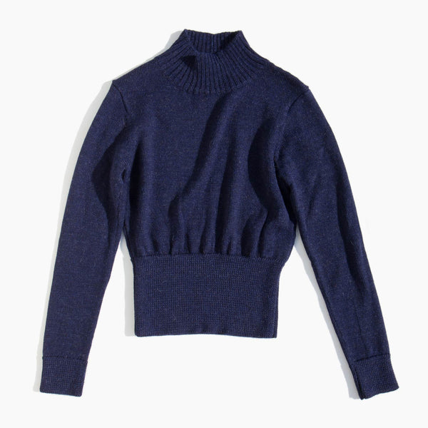 Hesperios Navy Astrid Crop Top Sweater