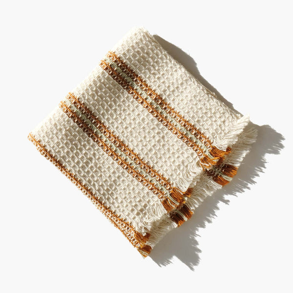 Hemp Blend Waffle Weave Striped Face Cloth
