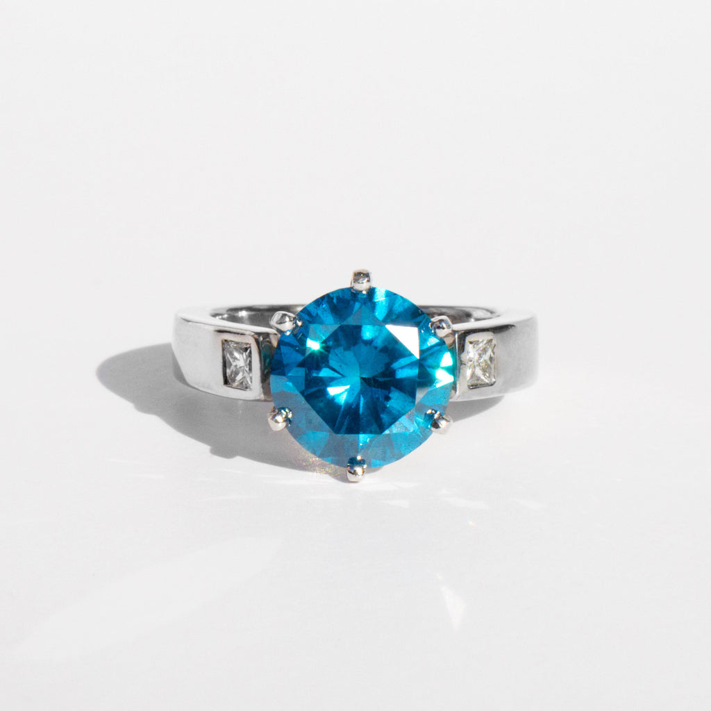 4ct Blue Diamond and White Gold Ring