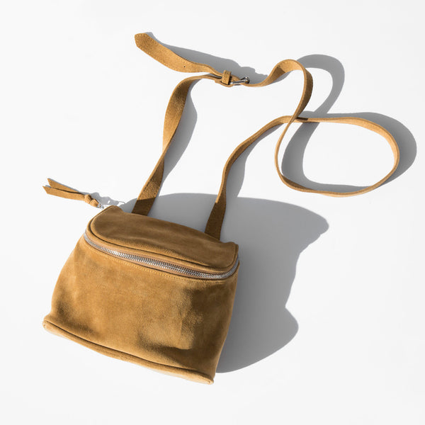 Clyde Golden Brown Suede Camera Bag