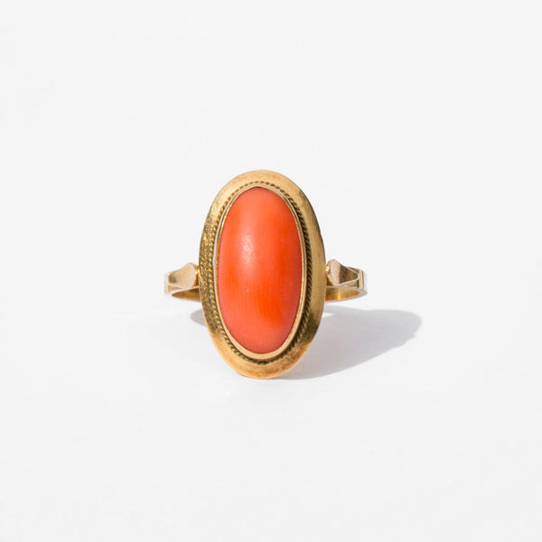 Coral and 18K Gold Ring