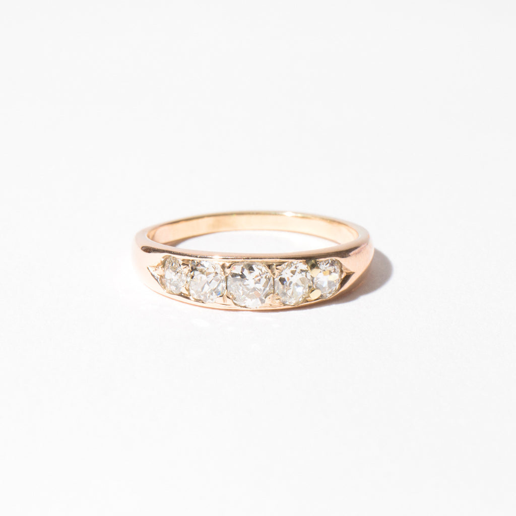 Edwardian Peach Gold Diamond Ring