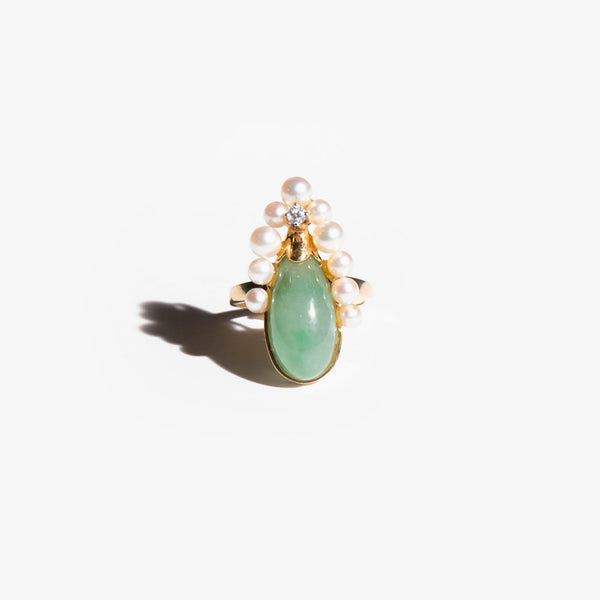 Jade and Pearl Beetle Ring