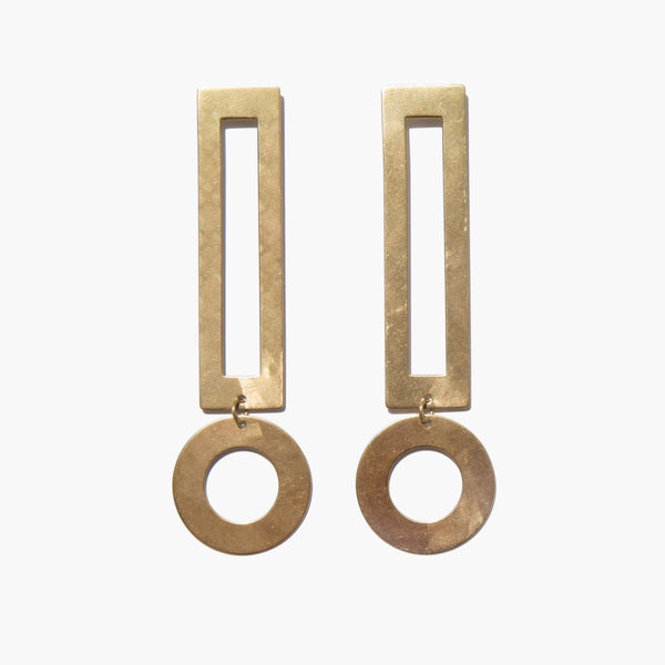 Modern Weaving Brass Heavy Exclamation Earrings