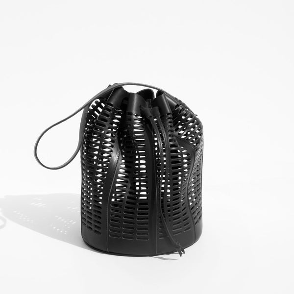 Modern Weaving Black Oval Die Cut Bucket Bag kindredblack kindred black