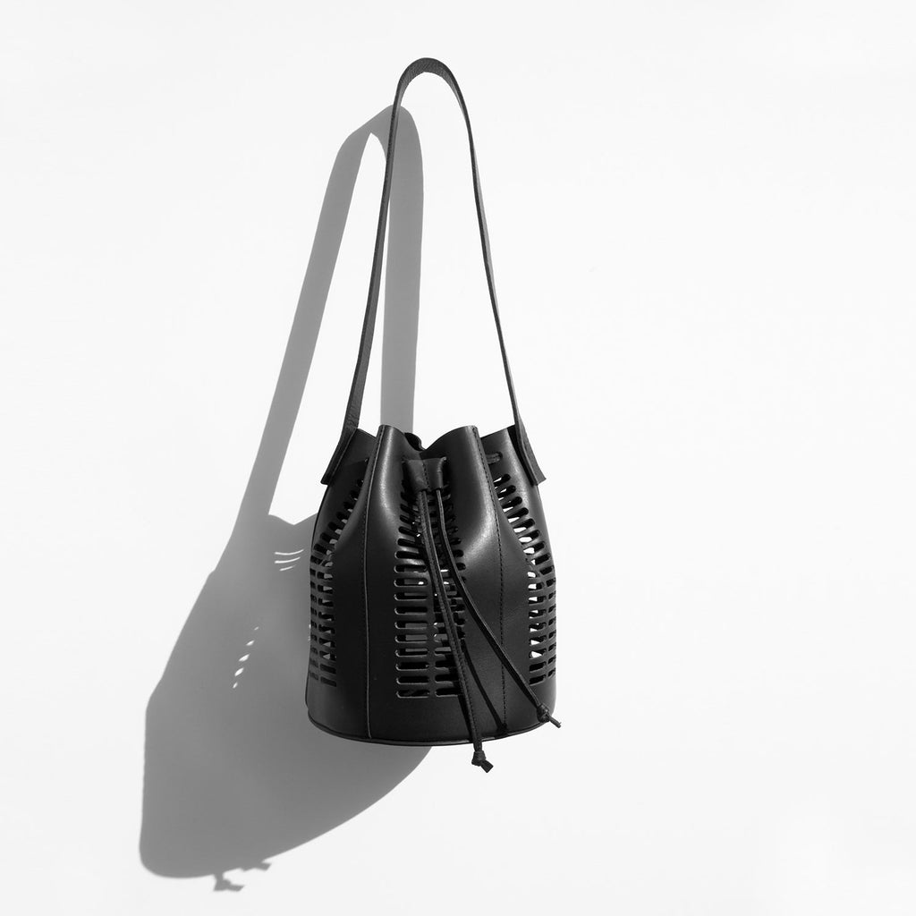 Modern Weaving Black Mini Oval Die Cut Bucket Bag