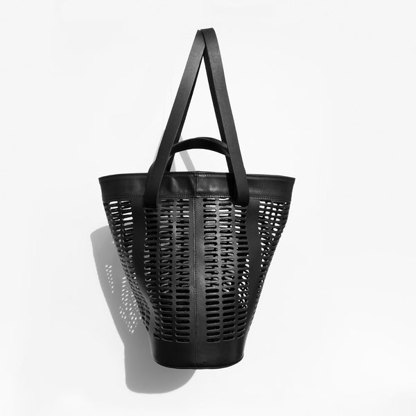 Modern Weaving Black Infinity Handle Basket Tote