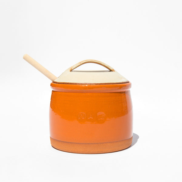 New York Stoneware Tangerine Honey Pot With Dipper