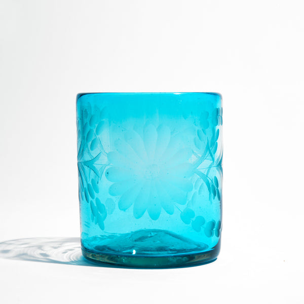 Etched Mexican Aqua Glass