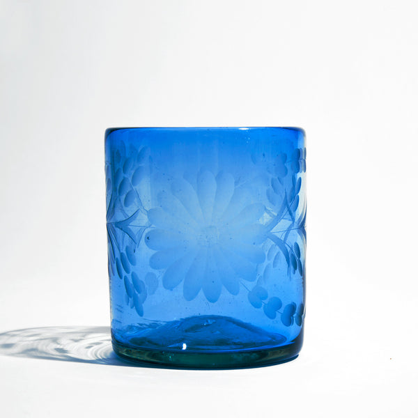 Etched Mexican Cobalt Glass