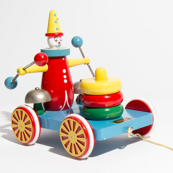 Swedish Wooden Clown Car Pull Toy
