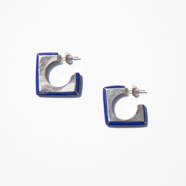 Sterling Silver and Deep Blue Lacquer Earrings