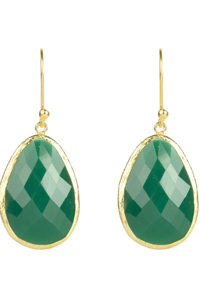 Gold Single Drop Earring Green Onyx