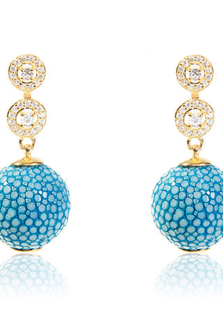 Medusa Collection Stingray Ball Earring With Zircon design