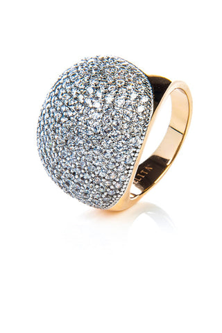 22ct Gold Vermeil Micro pave Ball Ring - White Zircon