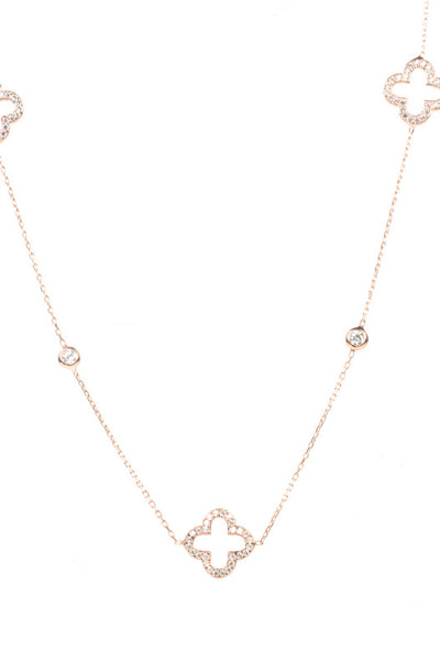 Necklace Long Hollow Clover Rosegold