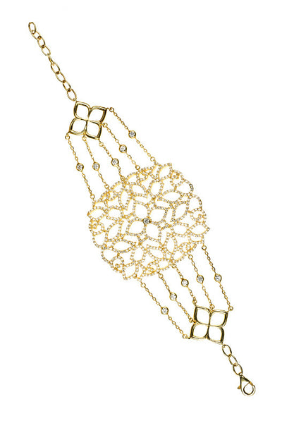 Cassandra Collection 22ct Gold Vermeil Micro pave Filigree Bracelet