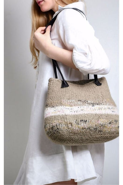 Beige Knitted Felt Bag