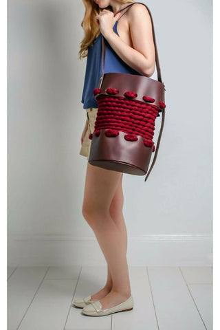Large Maroon Bucket Bag