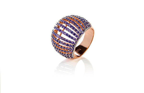 22ct Rose Gold Vermeil Micro pave Comb Ring - Purple Zircon