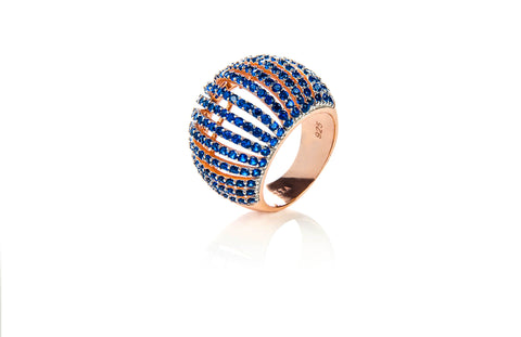 22ct Rose Gold Vermeil Micro pave Comb Ring - Blue Zircon