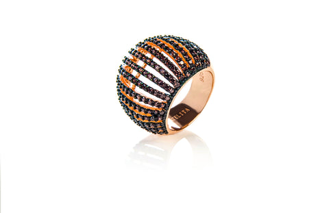 22ct Rose Gold Vermeil Micro pave Comb Ring - Chocolate Zircon