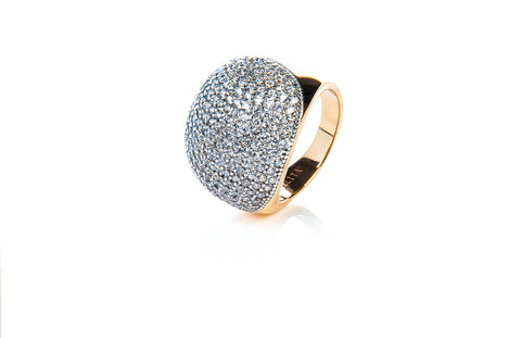 22ct Rose Gold Vermeil Micro pave Ball Ring - White Zircon