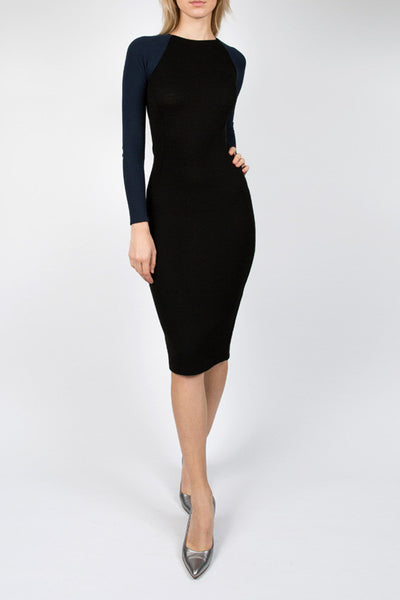 Black & Navy Wool Dress