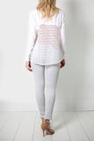 White Crochet Panel Blouse