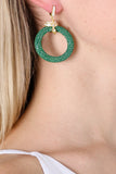 Medusa 22ct Gold Vermeil Stingray medium hoop Earring Green