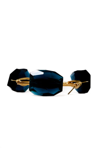 TARLEE Black and Sigi large blue gem stone bangle made in England handmade