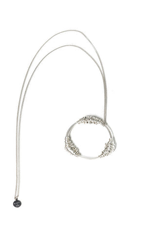TARLEE Black Sigi made in England silver long circle necklace