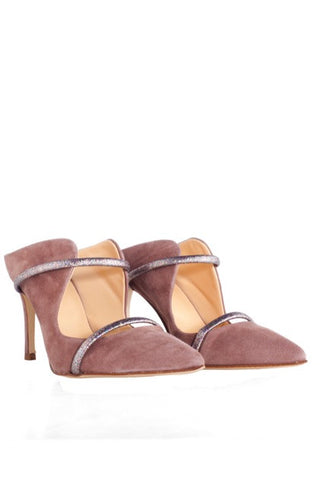 TARLEE emerging fashion designer sustainable shoes blush with silver straps 8cm heels